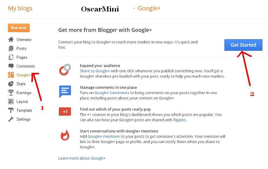 enabling Google plus profile on blogger