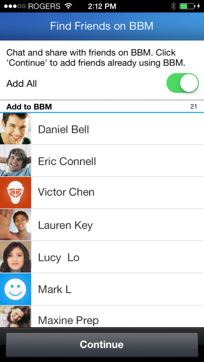 BBM for iOS find friends feature