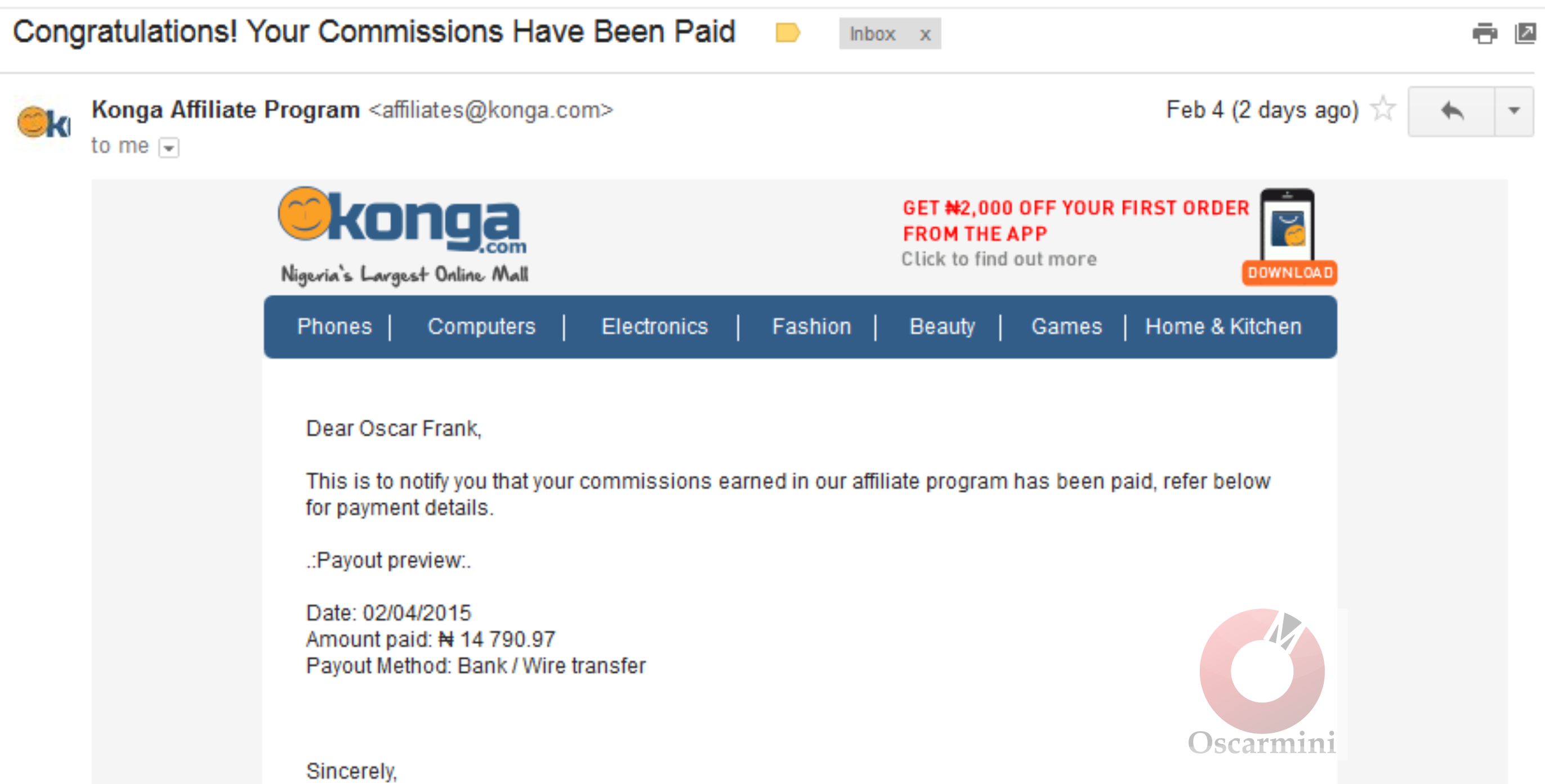 Konga finally pays me my affiliate earnings