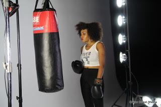 Female boxer model at video Shoot