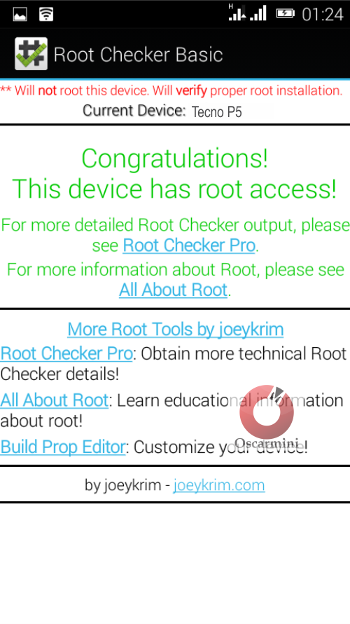 Root Access confirmation on Tecno P5