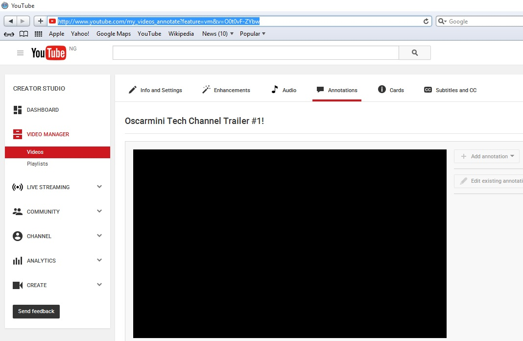 Youtube Annotations not Working on Safari Browser