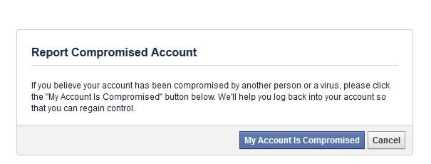 My Account has been compromised on Facebook