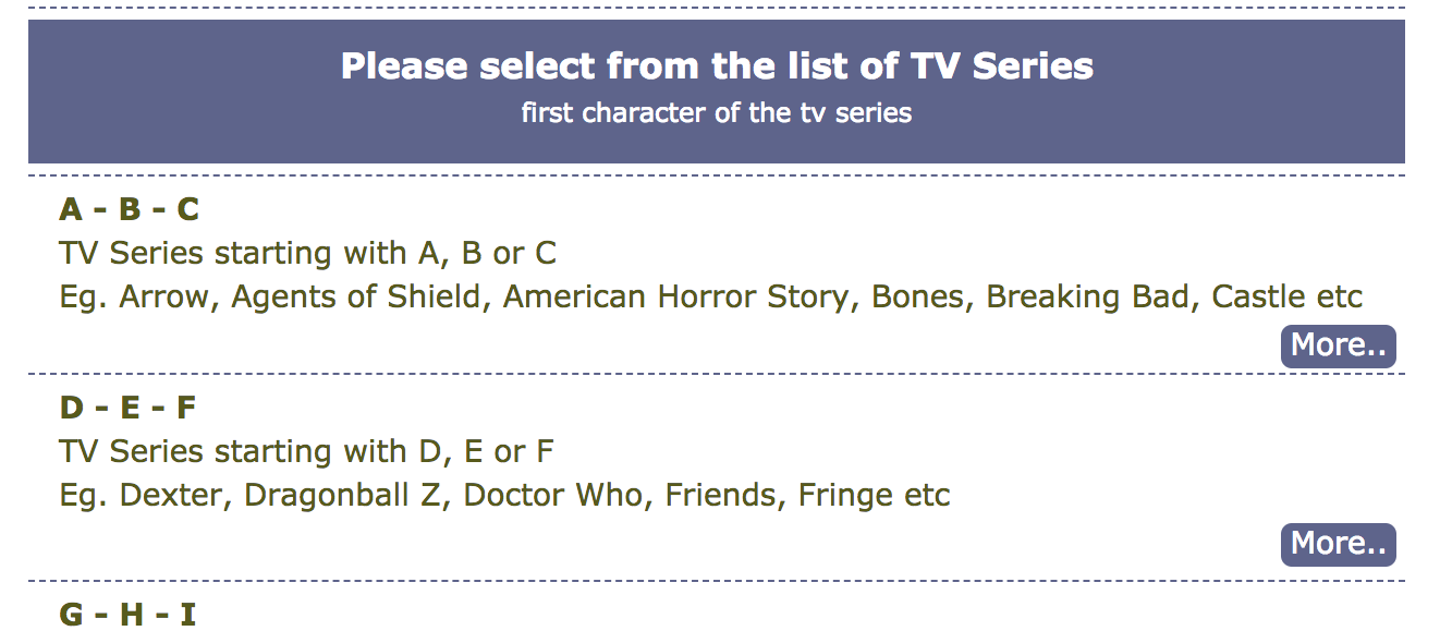 Selecting from list tvshows4mobile