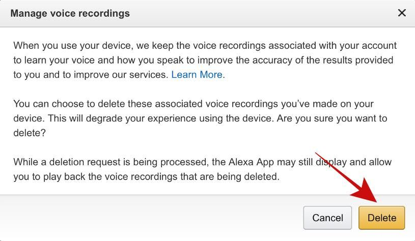 Delete all Alexa Recording